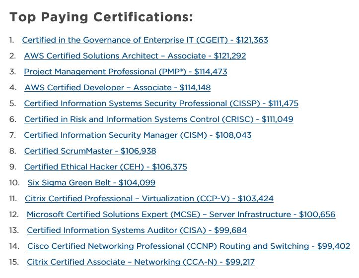 Top paying certifications 2018 - The Debt Free Journey